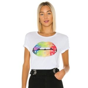 NWT Chaser Rainbow Star Lips Crew Neck T-Shirt XS
